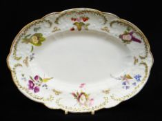 NANTGARW PORCELAIN OVAL DISH of lobed form, typically moulded with trailing flowers, the border