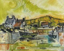 GWILYM PRICHARD mixed media possibly on linen - Irish landscape, entitled verso 'Cleggan', signed,
