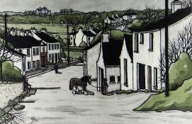ALAN WILLIAMS acrylic - village street scene with figures and tethered pony, entitled verso '