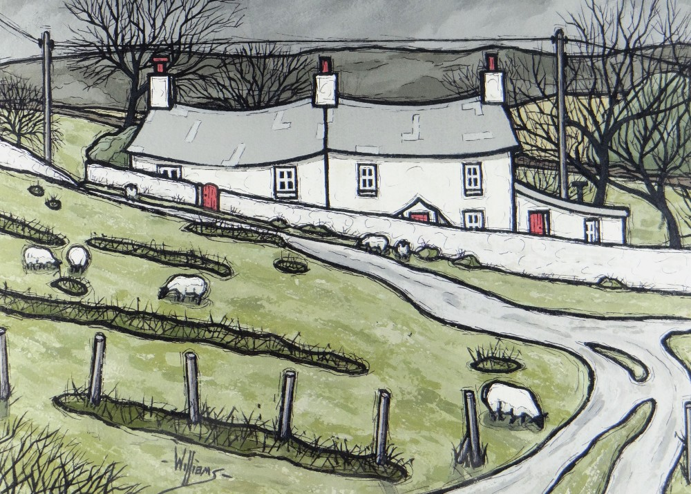 ALAN WILLIAMS acrylic - whitewashed cottages with grazing sheep in foreground, entitled verso '