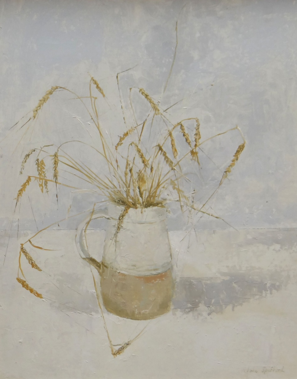 IOLA SPAFFORD oil on board - still-life, entitled verso 'Barley', signed, 48 x 39cms Provenance:
