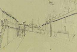 GEORGE CHAPMAN pencil on paper - Rhondda street, circa 1964, 27 x 40cms Provenance: private