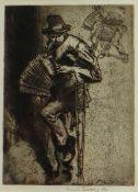 SIR FRANK BRANGWYN RA 1911 etching - entitled 'The Beggar Musician' signed in pencil, 24 x 18cms