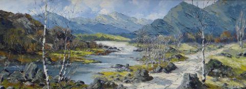 CHARLES WYATT WARREN oil on board - tree lined mountain river, entitled verso 'Mynydd Mawr Near