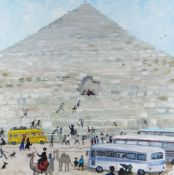 NICK HOLLY oil - Egyptian pyramid with tour buses, camels and figures, signed, 28 x 28cms