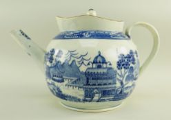 A BLUE & WHITE POTTERY PUNCH POT & COVER POSSIBLY UNRECORDED SWANSEA CAMBRIAN circa 1800, of bellied