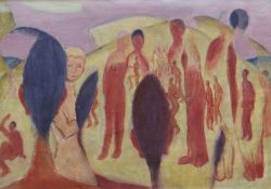 EVAN WALTERS oil on canvas - group of standing figures, unsigned, 37 x 52cms Provenance: private