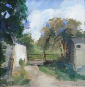 LEONARD BEARD oil on paper - farmyard with trees and gate, signed, 25 x 25cms Provenance: private