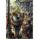 VALERIE GANZ mixed media - tuba player and jazz instrumentalists in a crowded park, possibly
