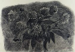 CHARLES BURTON ink on paper - study of chrysanthemums, signed, 31.5 x 46cms Provenance: private