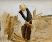 WILL ROBERTS oil on canvas - entitled verso 'Man with Scythe', signed with initials and verso, dated