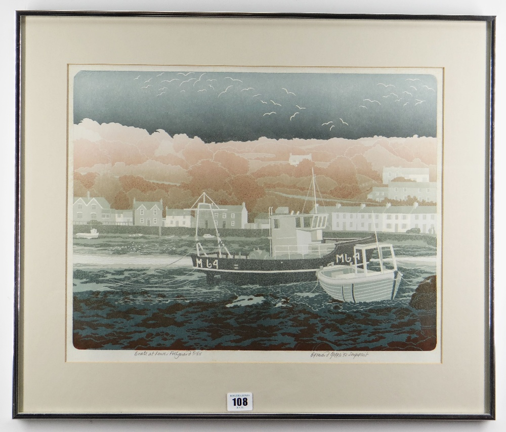 BERNARD GREEN limited edition (8/55) linocut print - entitled 'Boats at Lower Fishguard', signed, 37 - Image 2 of 8