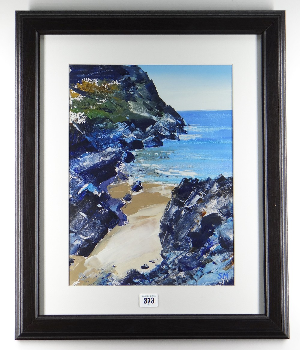 SIAN MCGILL oil - sandy cove with rocky cliffs, entitled verso on Albany Gallery label 'Mewslade, - Image 2 of 2