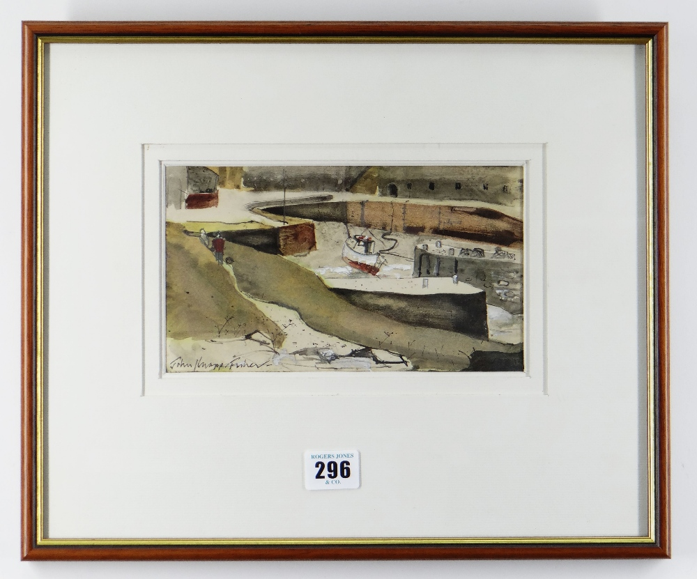 JOHN KNAPP-FISHER mixed media - figures and boats in harbour, entitled verso on Attic Gallery - Image 2 of 2