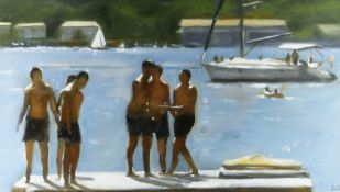 DAI DAVID acrylic - boys in swimming trunks at harbour with yacht, signed with initials, 27 x