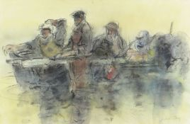 WILLIAM SELWYN mixed media - fishermen on boat, signed, 27 x 41cms Provenance: private collection
