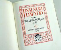 GREGYNOG PRESS VOLUME OF PSALMAU DAFYDD YN OL WILLIAM MORGAN 1588, No.62 dated 1929, printed by