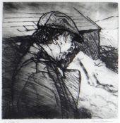 DAVID CARPANINI artist's proof etching - portrait of Sir Kyffin Williams in flat-cap and raincoat,