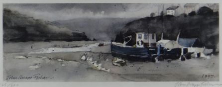 JOHN KNAPP-FISHER limited edition (145/500) print - entitled 'Moored Fishing Boats', signed, 16 x