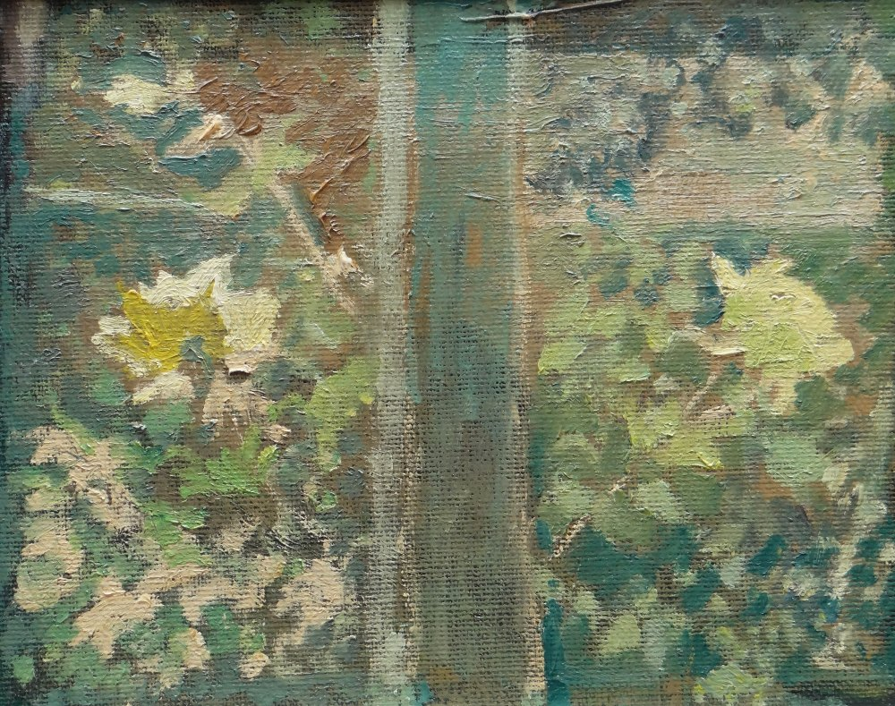 GORDON STUART oil on board - view from window with flowers, unsigned, 23 x 29cms Provenance: