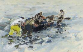 WILLIAM SELWYN oil on paper - four fisherman on the Menai Straits, entitled 'Pysgodwyr ar y Menai (