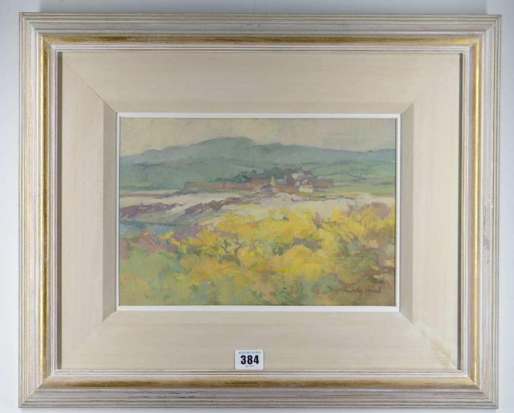 AUDREY HIND oil on board / card - Ynys Mon landscape with farm, entitled verso 'Cemlyn', signed, - Image 2 of 2