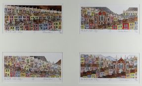 MICHAEL POWELL framed quartet of limited edition prints - South Wales valley scenes, signed and