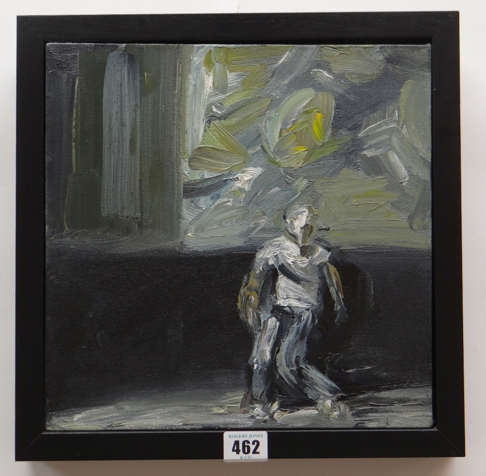 PAUL REES oil on canvas - entitled verso on Ffin-y-Parc gallery label 'Ryan's Monologue III', signed - Image 2 of 2
