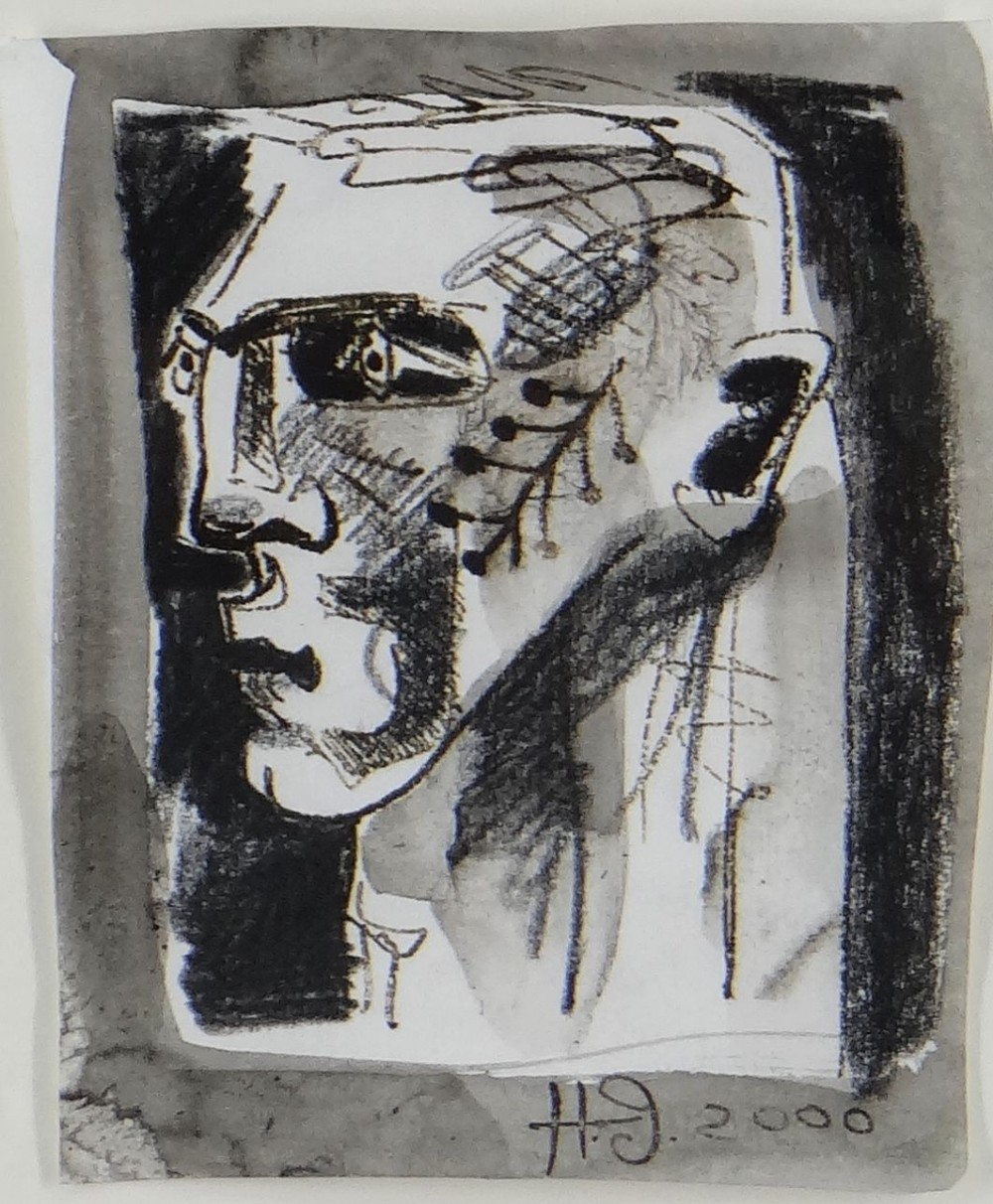 CLIVE HICKS-JENKINS monoprint - entitled verso 'Unmasked Mari Lwyd 2001', signed and dated 2000, 14