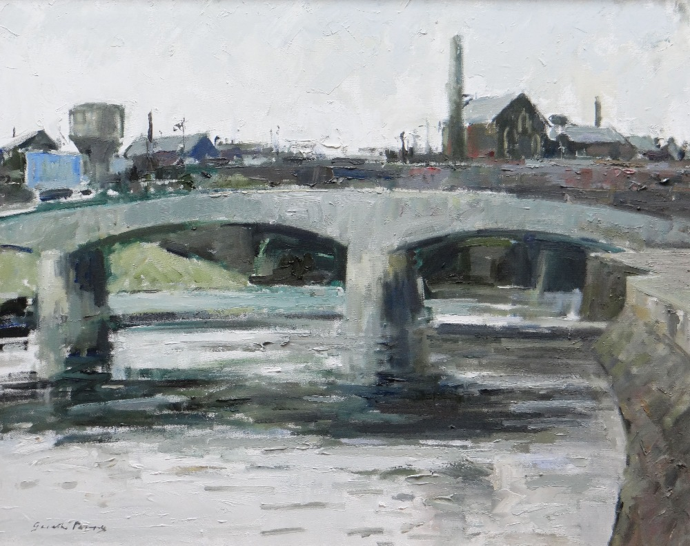 GARETH PARRY oil on canvas - the River Taff and Cardiff skyline, entitled verso on Kooywood