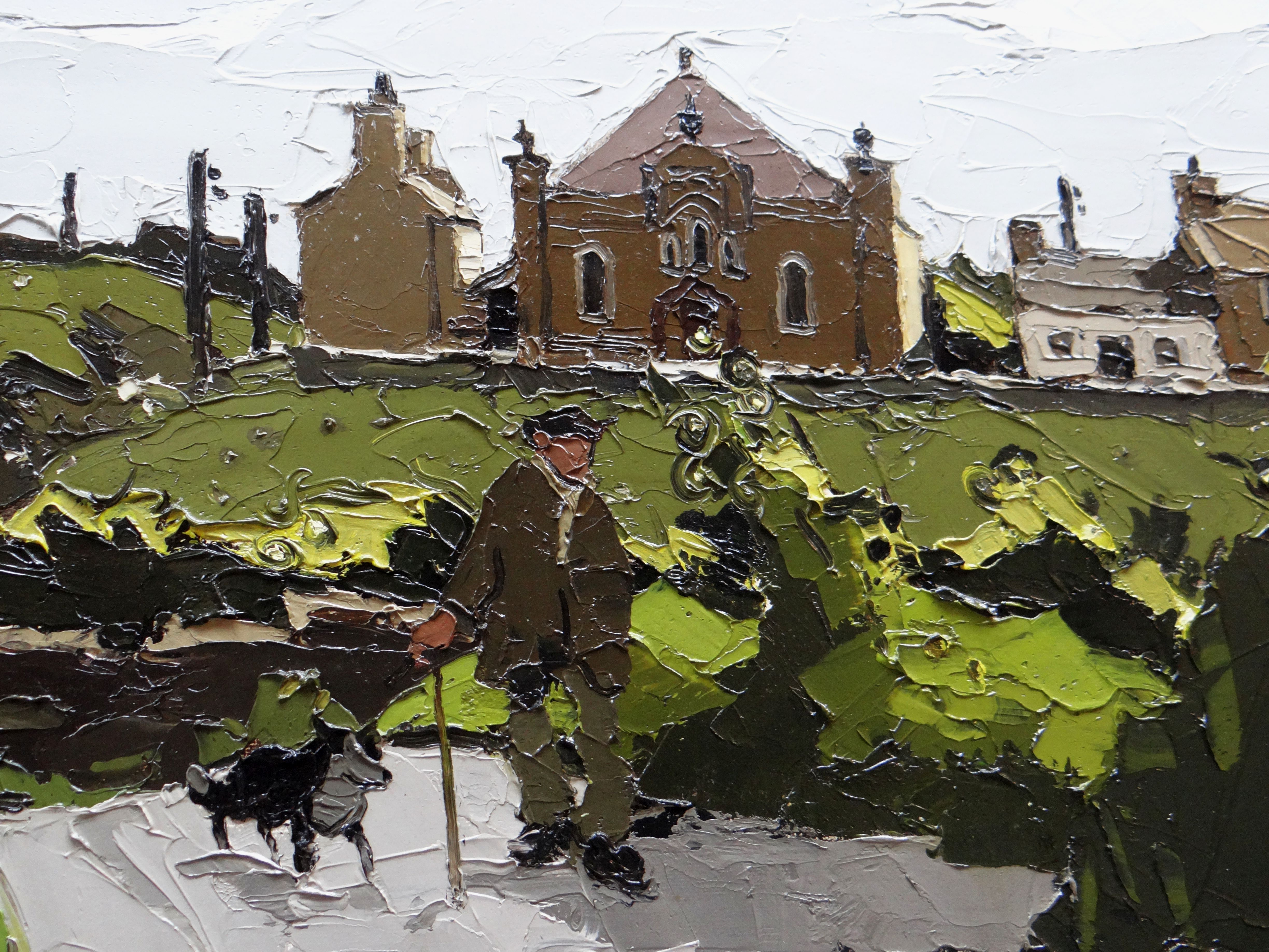 SIR KYFFIN WILLIAMS RA oil on canvas - Ynys Mon (Anglesey) landscape with farmer and dog walking - Image 2 of 4