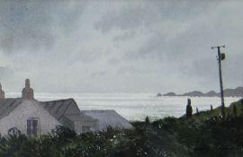 GARETH THOMAS watercolour - Pembrokeshire coast, entitled verso 'Cottage at Whitesands', signed