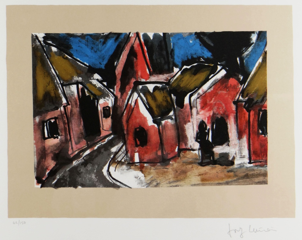 JOSEF HERMAN OBE RA limited edition (62/150) colour print - figure seated in village with church,