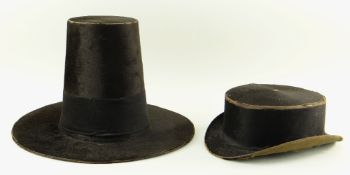 WELSH HIS & HER HATS the ladies in familiar traditional tall form with black fur,