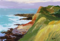 DONALD MCINTYRE acrylic - entitled verso on Attic Gallery Swansea label 'Pembs Coast No. 2',