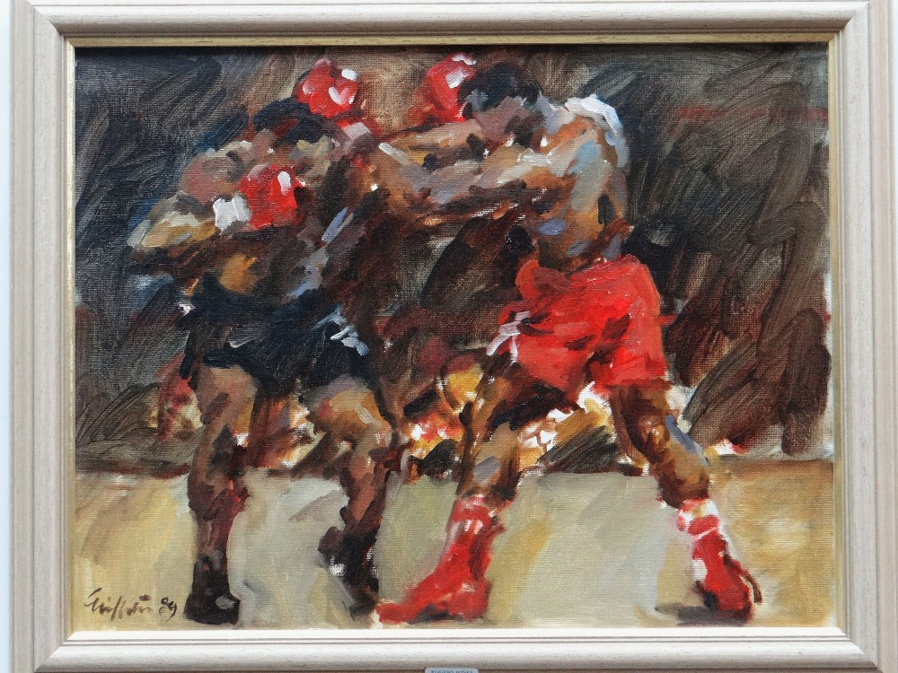 DAVID GRIFFITHS MBE oil on board - two boxers, signed and with Mall Galleries label verso, giving - Image 2 of 2