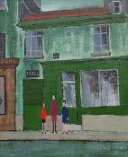 JACK JONES oil on board - three standing figures in a Parisian street, entitled verso '26 Rue Des