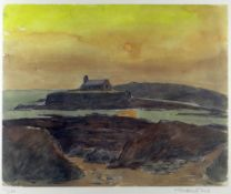 SIR KYFFIN WILLIAMS RA limited edition (111/150) colour print - Porth Cwyfan at sunset, signed fully