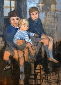 CLAUDIA WILLIAMS oil on board - group portrait of the artist's three sons, signed verso and dated