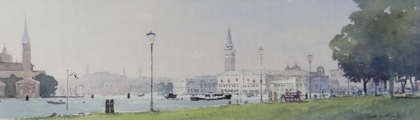GARETH THOMAS watercolour - entitled verso on Attic Gallery Swansea label 'Venice from Rio del