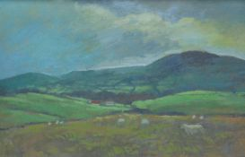 ANEURIN JONES oil on board - Welsh landscape with sheep and distant farm, 37 x 57cms Provenance: