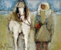 WILL ROBERTS oil on board - figure leading pony, entitled verso 'White Pony, Penclawdd', signed with
