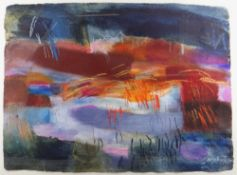 MARY LLOYD JONES mixed media - landscape, entitled verso on Martin Tinney gallery label 'Rhosdir',