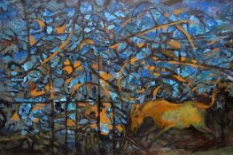 JOHN ELWYN oil on canvas - neo-Romantic composition with horse and undergrowth, entitled 'A