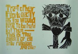 PAUL PETER PIECH two colour limited edition (967/150) lithograph poster - depicting Christ on the