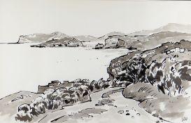 SIR KYFFIN WILLIAMS RA inkwash - Ynys Mon coastline, entitled 'Fedw Fawr', signed with initials,