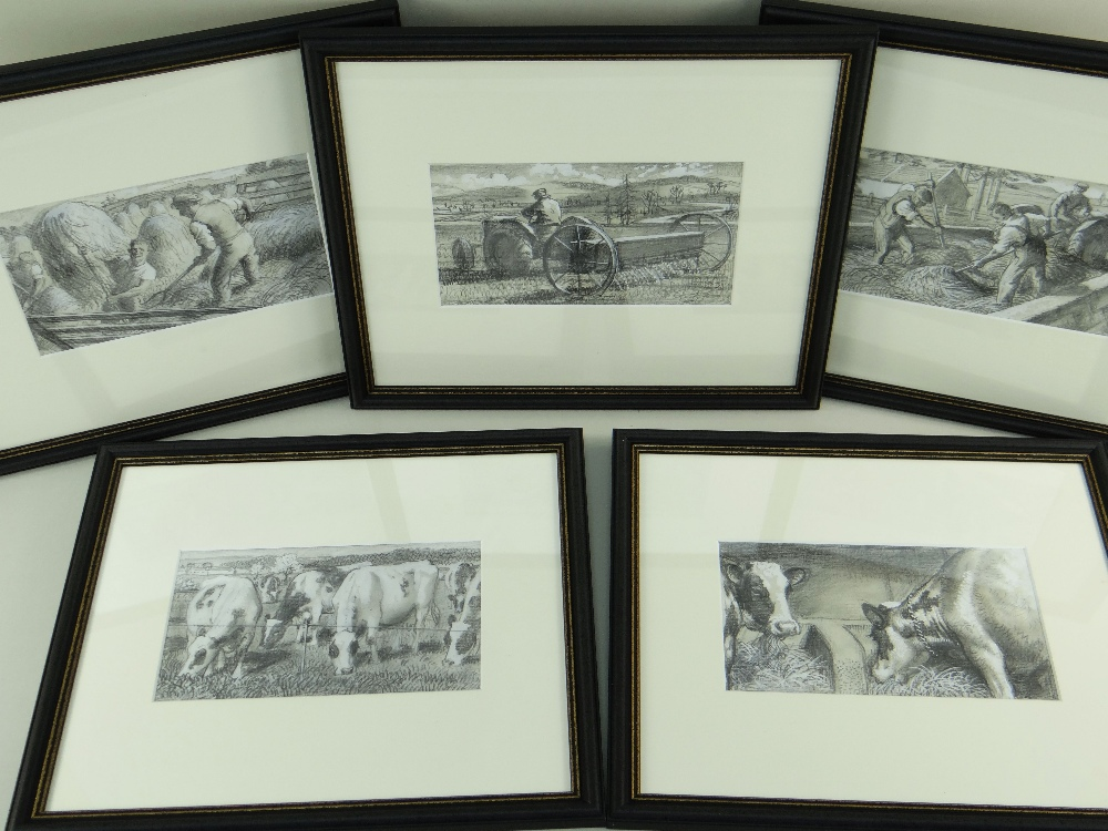 CHARLES FREDERICK TUNNICLIFFE OBE RA (1901-1979) pencil and tint - five illustrations of mid 20th