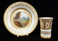 A SWANSEA PORCELAIN SPILL VASE & CABINET CUP STAND the spill vase with flared rim and with ridged