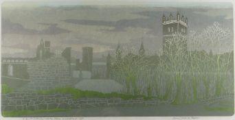 BERNARD GREEN test print linocut - entitled in pencil 'St. David's Cathedral, Winter Dawn,