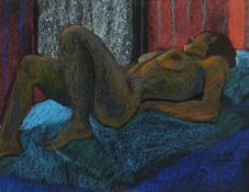 CLAUDIA WILLIAMS pastel - study of a reclining female nude, entitled verso 'Looking Towards the